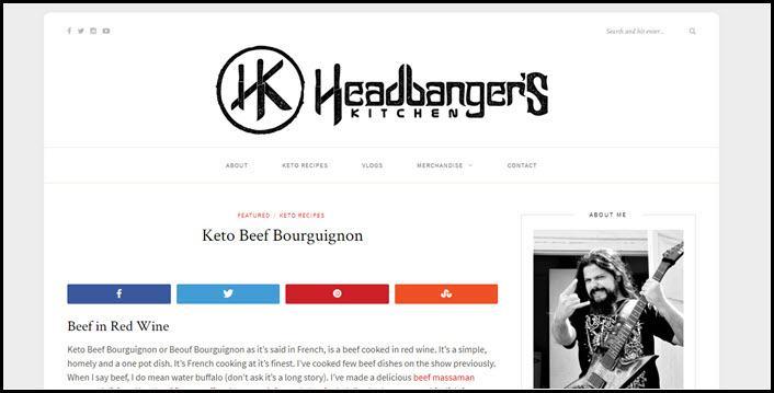 Website screenshot from Headbanger's Kitchen