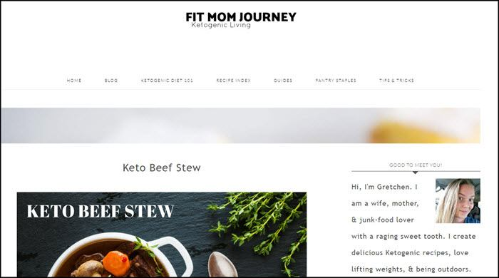 Website screenshot from Fit Mom Journey