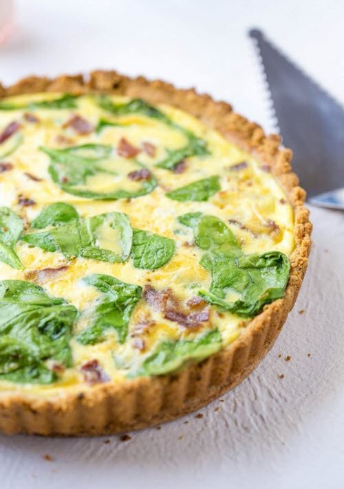 A crusted quiche with spinach and bacon.