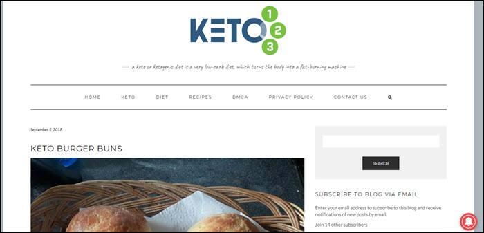 Website screenshot from Keto 123