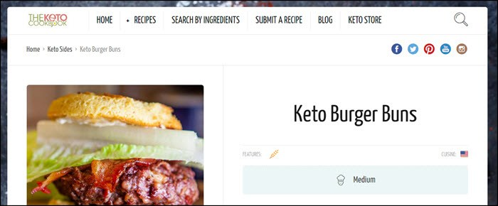 Website screenshot from The Keto Cookbook