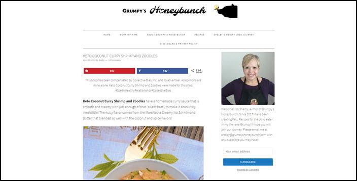 A website screenshot from Grumpy's Honeybunch