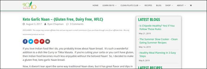 Website screenshot from 90/10 Nutrition