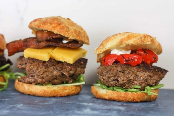 Two keto burgers with many fillings