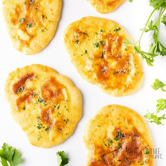 Naan bread on a white background
