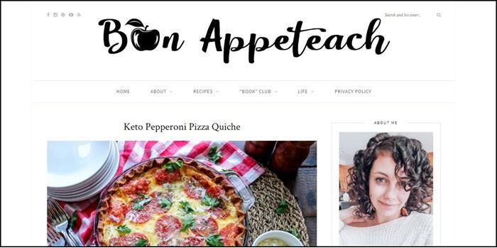 Website screenshot from Bon Appeteach.