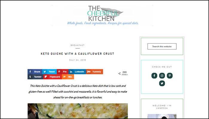 Website screenshot from The Cheerful Kitchen.