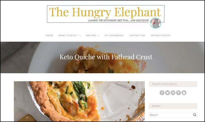 Website screenshot from The Hungry Elephant.