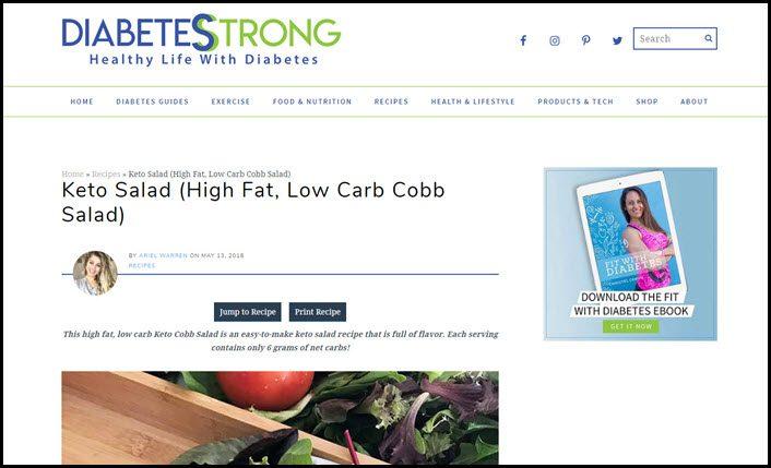 Website screenshot from Diabetes Strong