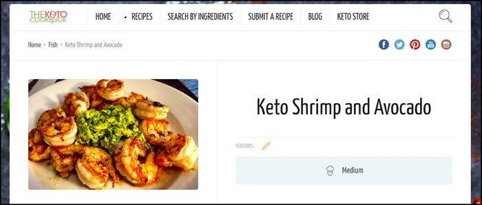 Website screenshot from The Keto Cookbook