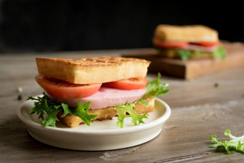 A sandwich made with a keto bread alternative
