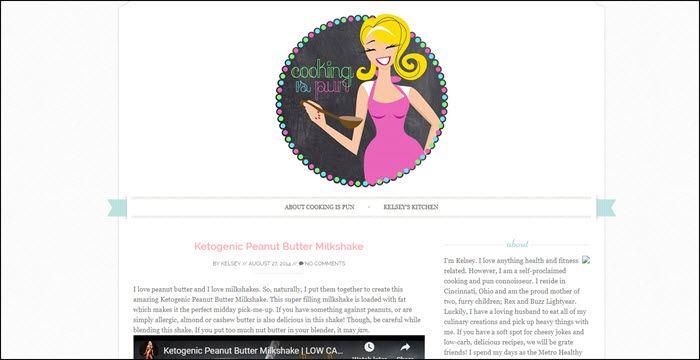 Website screenshot from Cooking is Pun