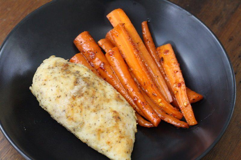 sous vide chicken and brown sugar spicy pepper carrots