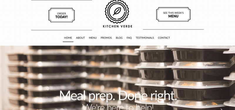 Kitchen Verde website screenshot showing many containers of prepared food.
