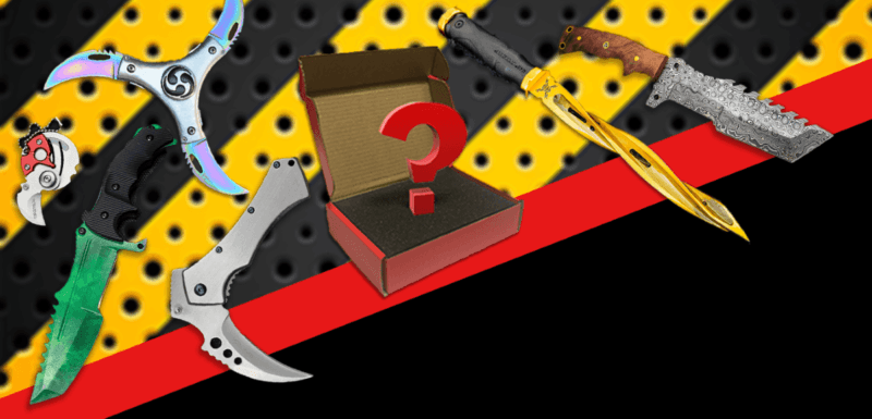 Yellow and black background with a red stripe across the middle and solid black below that.  6 different unique knives including a cyclone blade and triple blade options with an open box in the middle and a hovering ? above the box