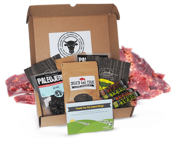 A cardboard box with various jerky and meats