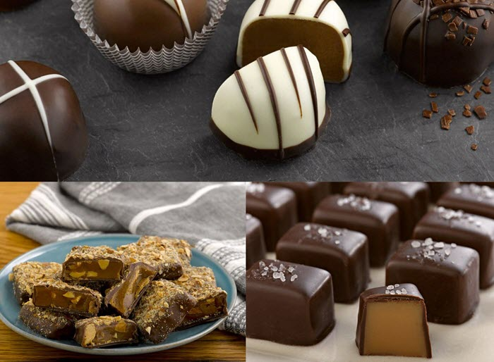 Different types of chocolate on a table
