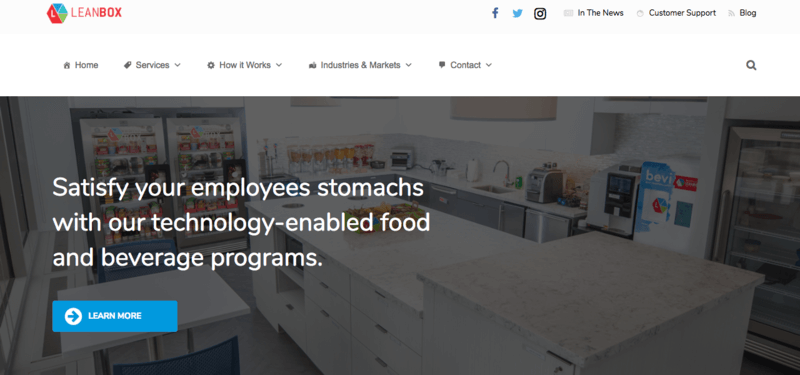 LeanBox website screenshot showing a kitchen with various Leanbox stands