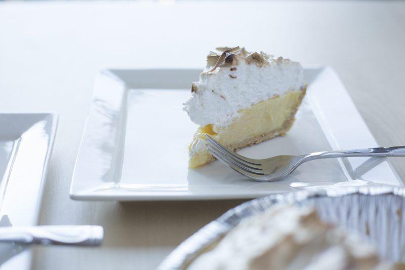 Lemon Meringue Pie Detail Fork Square Plate Slice