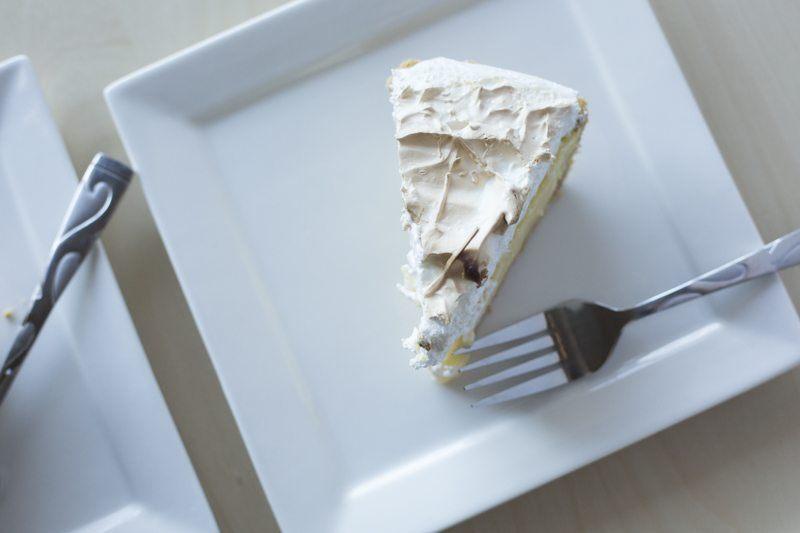 Lemon Meringue Pie Detail Top Down Dessert Square Plate