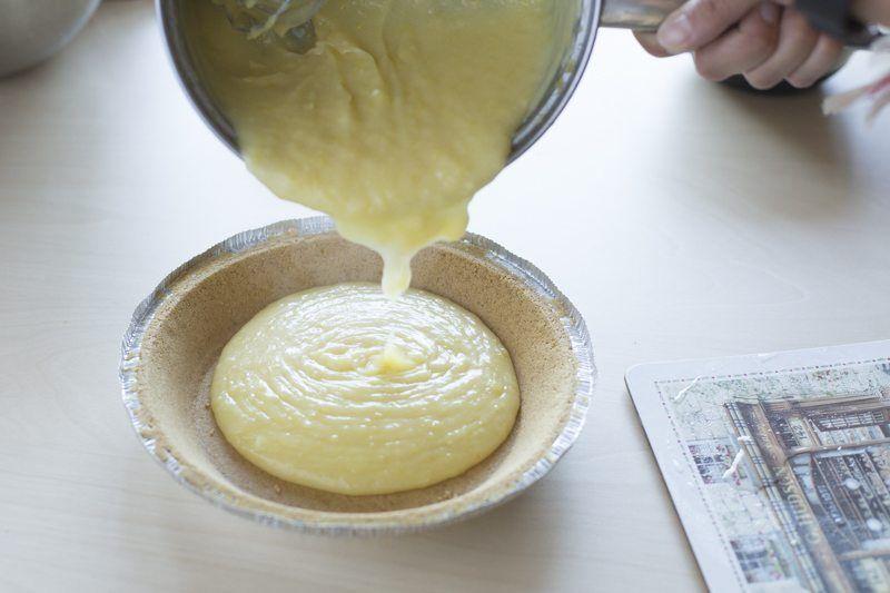Lemon Meringue Pie Filling Crust Pour Prep Table