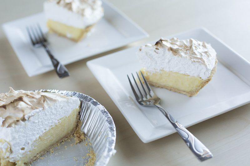 Lemon Meringue Pie Two Plates Square Forks Table Dessert