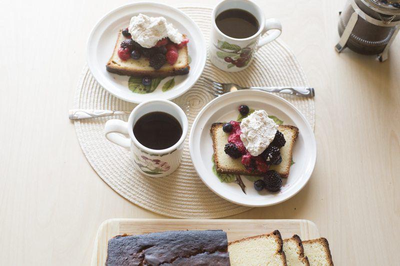 Lemon Pound Cake Berries Honey Mascarpone Cream Dessert Two Plates Coffee