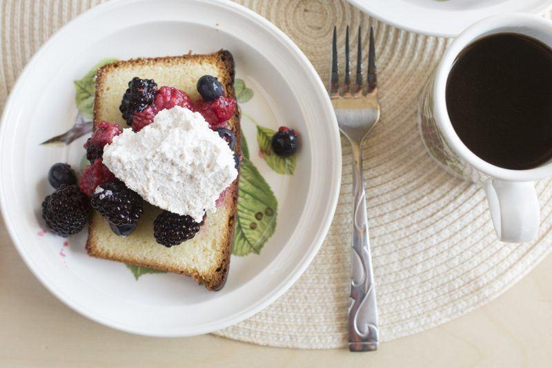 Lemon Pound Cake Berries Honey Mascarpone Cream Detail Top Down Coffee Dessert Fork