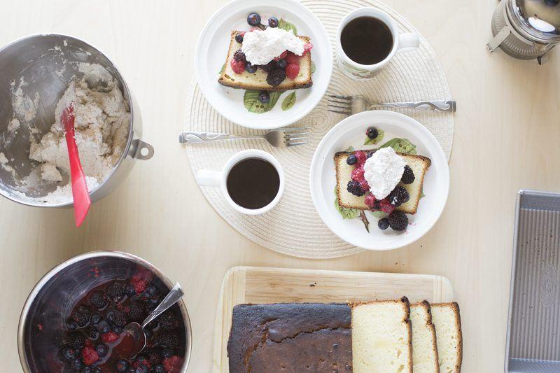 Lemon Pound Cake Berries Honey Mascarpone Cream Prep Area Behind The Scenes Coffee French Press