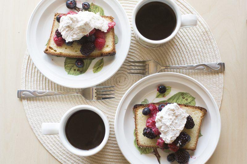 Lemon Pound Cake Berries Honey Mascarpone Cream Top Down Two Plates Coffee Dessert