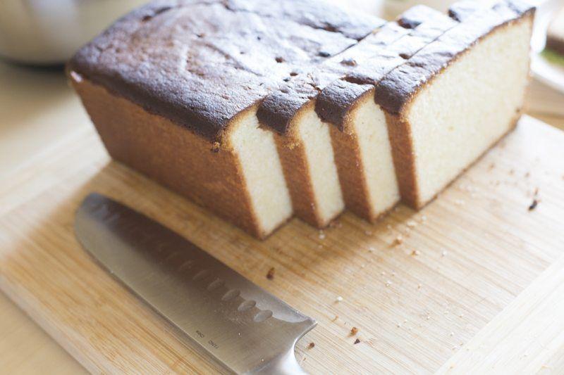 Lemon Pound Cake Prep Baked Knife Slices Cutting Board