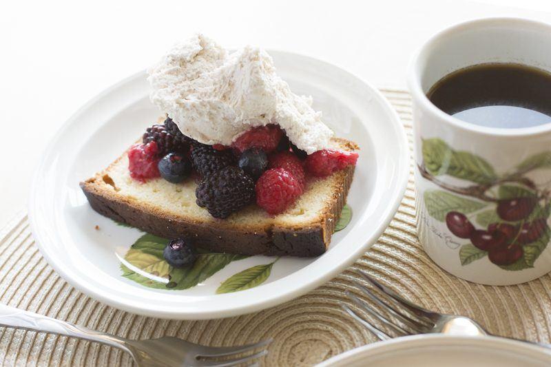 Quick Lemon Pound Cake With Berries And Honey Mascarpone Cream