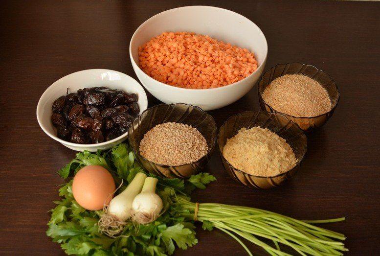 Lentil falafel ingredients