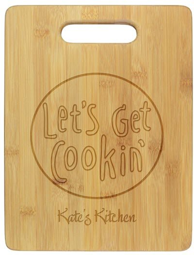 Cutting board that says Let's Get Cooking