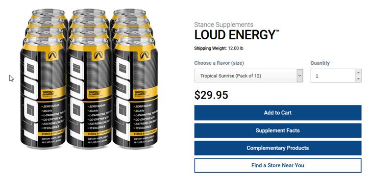 A website screenshot for Loud Energy Drink
