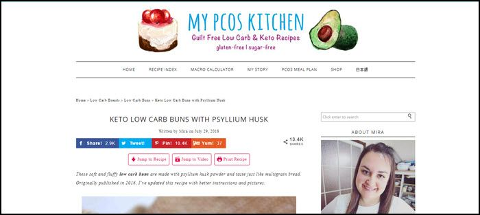 Website screenshot from My PCOS Kitchen