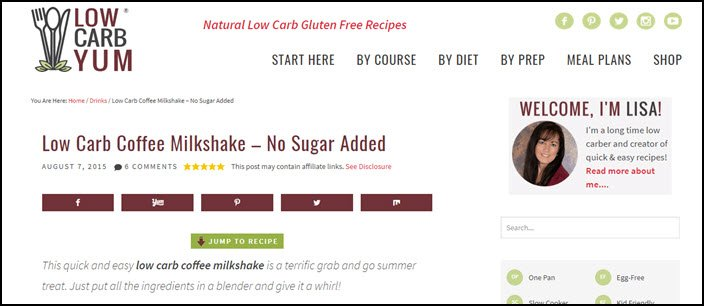 Website screenshot from Low Carb Yum