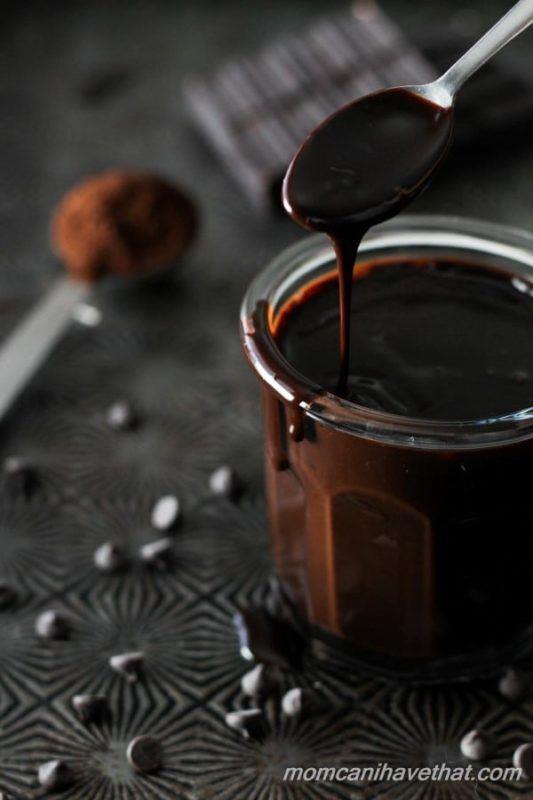 A glass jar with dark chocolate sauce