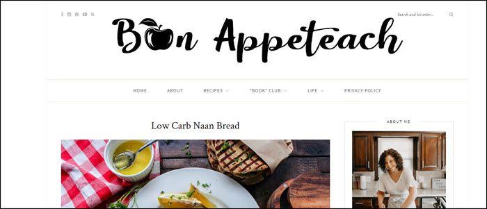 Website screenshot from Bon Appeteach