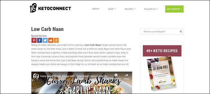 Website screenshot Keto Connect