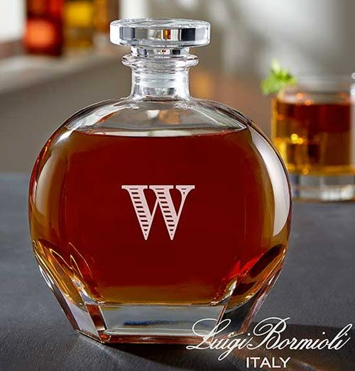 A decanter with an engraved W
