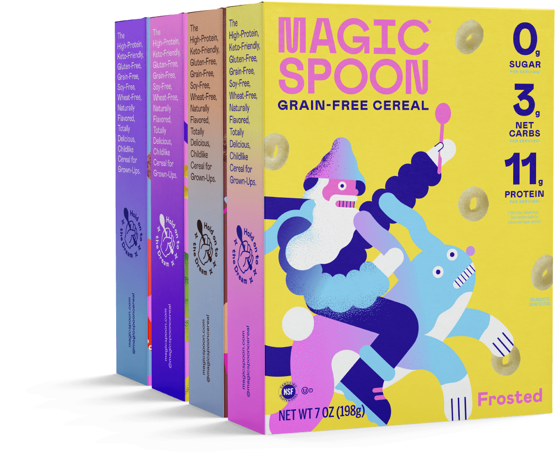 Four different grain free cereal made by Magic spoon with a wizard riding a rabbit holding a spoon