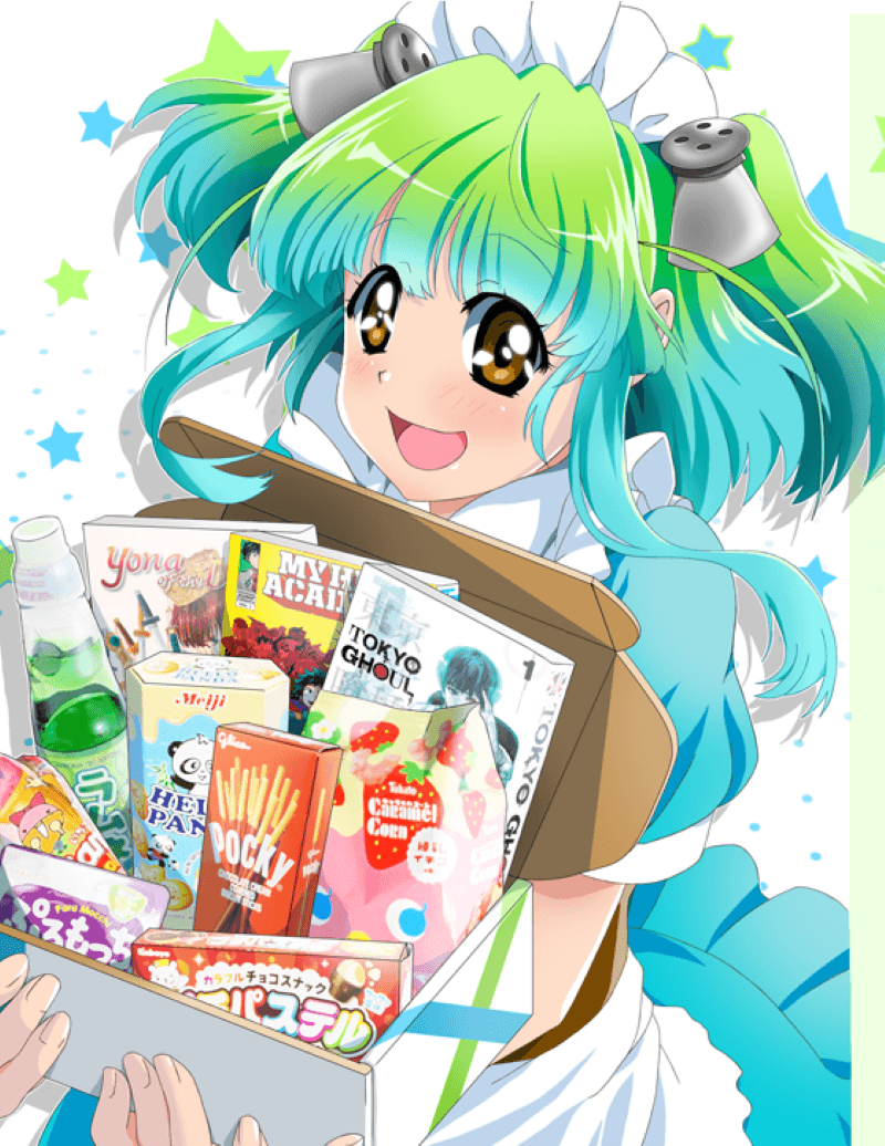 Anime illustration of a girl with green and turquoise hair holding a box with comics and Japanese snacks