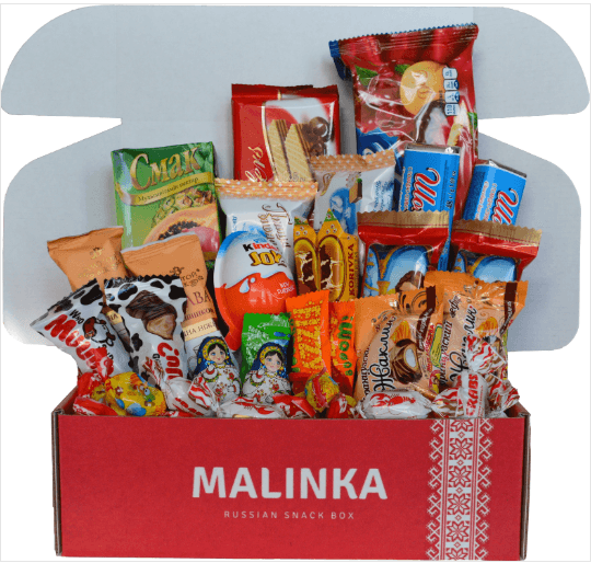 A red box that contains a selection of different snacks