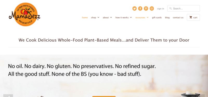 MamaSezz website screenshot, showing details about the ingredients that they exclude.