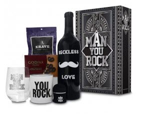 A wine bottle, chocolate, glass and more