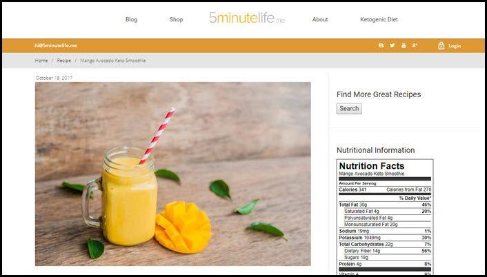 Website screenshot from 5 Minute Life