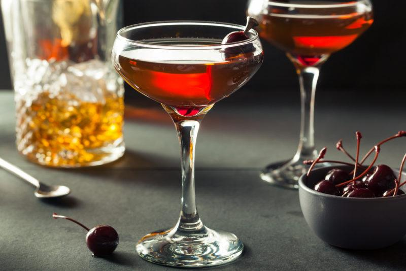 Two Manhattan cocktails in glasses