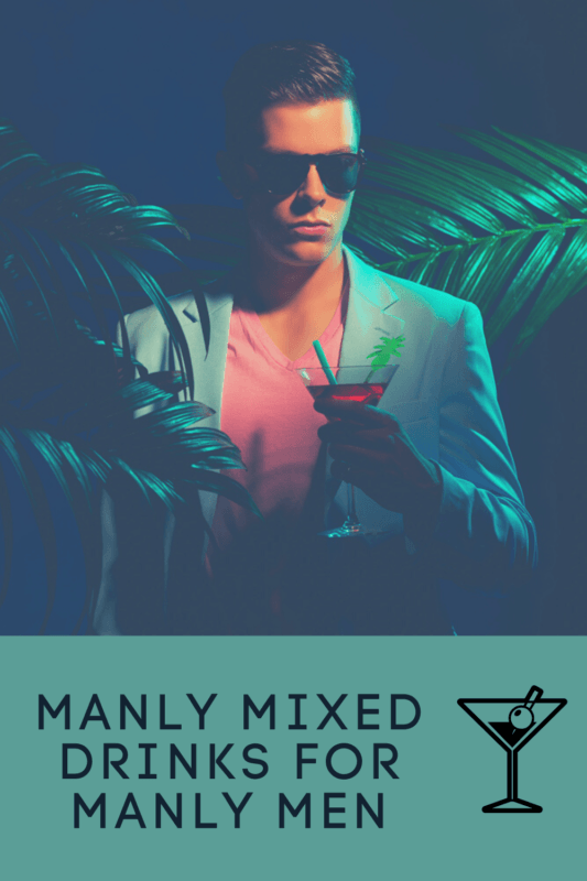 man in 20's with 80's vibe suit and palm trees, with a red mixed drink in martini glass.