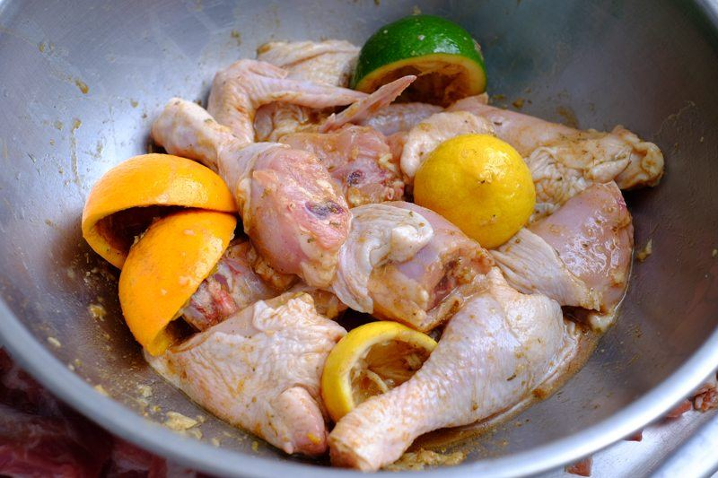 Add in the pieces of chicken and allow to marinate in the refrigerator for a minimum of four hours